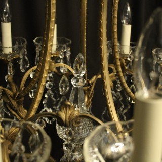French Gilded Bronze & Crystal 10 Light Chandelier