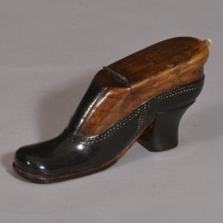 Antique Treen 19th Century Beech and Ebonised Snuff Shoe