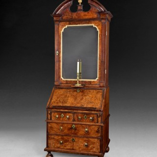 Queen Anne period burr Walnut, crossbanded and feather banded Bureau Bookcase