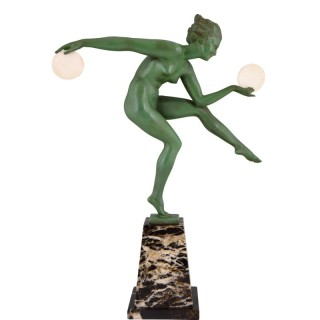 Art Deco sculpture nude disc dancer