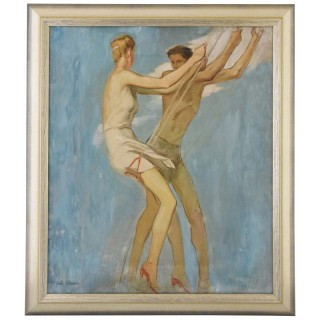 Art Deco painting of couple on a swing