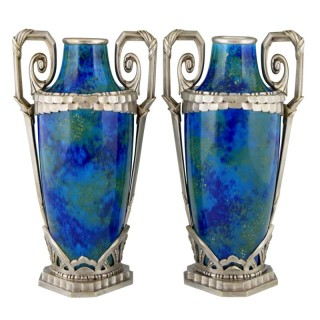 Pair Art Deco blue ceramic and bronze vases