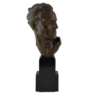 Art Deco Bronze Sculpture Male Bust