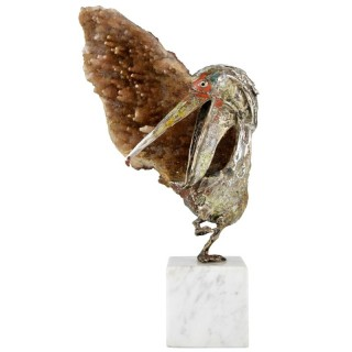 Pelican sculpture, enamelled silver and mineral