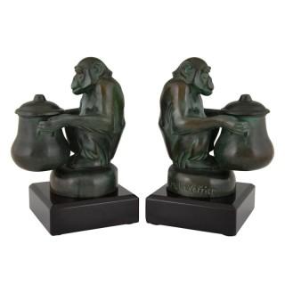 Art Deco bookends monkeys
