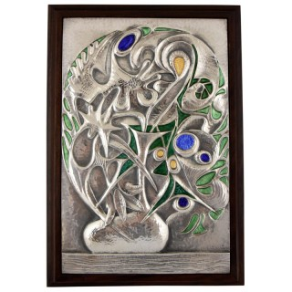Enamelled Sterling silver wall panel, vase with flowers