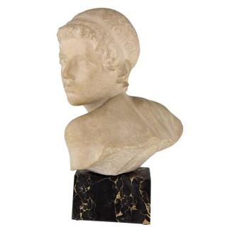 Art Deco marble bust of a boy, the child Achilles