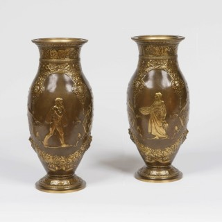 A Pair of Bronze Vases By F. Barbédienne