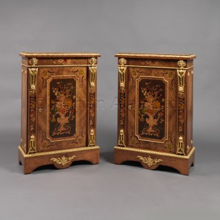 A Fine Pair of Gilt-Bronze Mounted and Marquetry Inlaid  Walnut Pier Cabinets