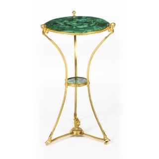 Antique Russian Round Ormolu Table With Green Malachite Top 19th C