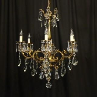 Italian Gilt Bronze 6 Light Antique Chandelier