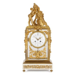 Neoclassical style gilt bronze mounted glass and marble mantel clock