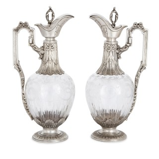 Two silver mounted engraved glass wine jugs by Gross