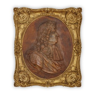 18th Century 'cuir bouili' leather portrait of Louis XIV