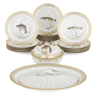 Royal Copenhagen painted and parcel gilt porcelain dinner service