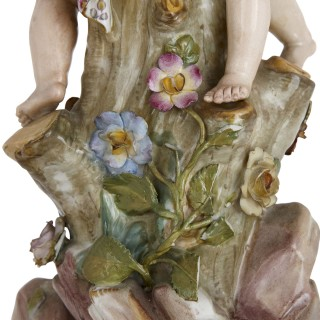 Antique porcelain centrepiece with cherubs, by Meissen