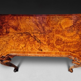 George II Burr Walnut and feather banded card table
