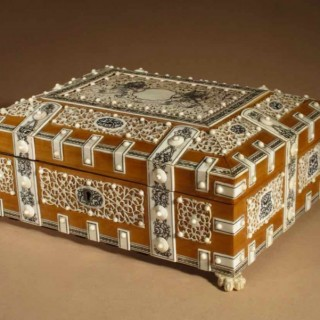 Anglo Indian Vizagapatam  Sandalwood and Ivory Box