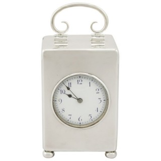Sterling Silver Carriage Clock - Antique Edwardian (1907)
