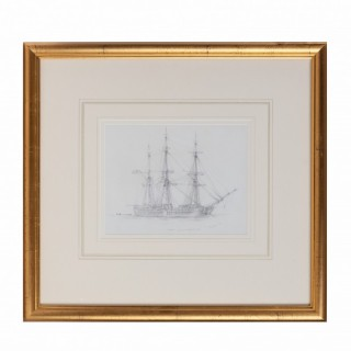 "An unusual pencil drawing of ""Canton"" a three masted whaling ship by Harold Wylie"
