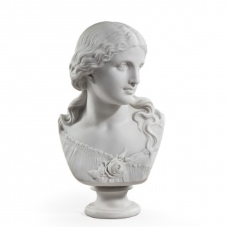 "Copeland Parian ware bust of ""Love"" by Raffaelle Monti, dated 1871"