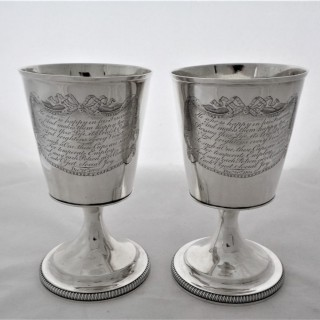 Lovely pair George III silver goblets London 1805 Naphthali Hart