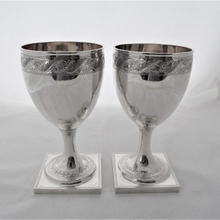 Quality pair engraved George III silver goblets London 1801 George Smith Thomas Hayter