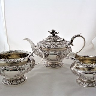 Good quality crested Georgian silver 3 piece tea set Jonathan Hayne