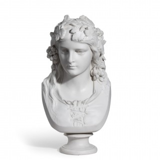"A Copeland Parian ware bust of the ""Hop Queen"" by Joseph Durham, dated 1873"