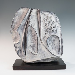 Large blue grey ceramic sculpture by Marcello Fantoni