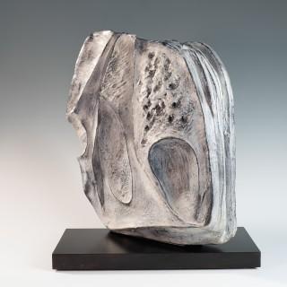 Large blue grey ceramic sculpture by Marcello Fantoni