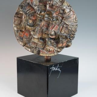 Circular sculptural relief on plinth by Marcello Fantoni