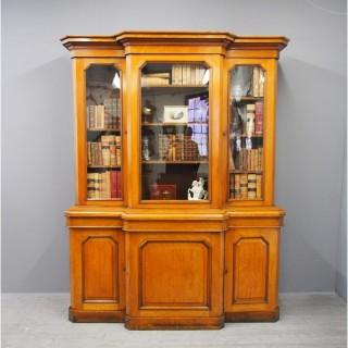 Victorian 3 Door Oak Breakfront Bookcase