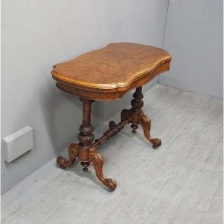 Mid Victorian Burr Walnut Trestle End Card Table