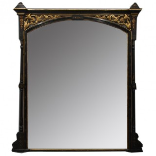 Aesthetic Movement Style Ebonized Overmantel Mirror