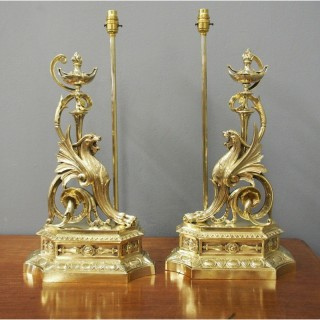 Pair of Cast Brass Griffin Lamps