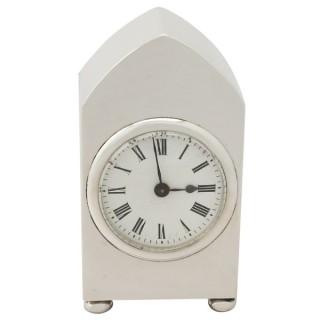 Sterling Silver Boudoir Clock - Antique George V (1913)