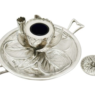 Sterling Silver 'Water Lily' Inkwell and Quill - Antique Victorian 1890