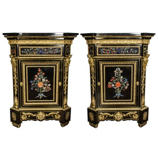 Monumental Pair of 19th Century Pietra Dura Cabinets
