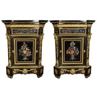 Monumental Pair of 19th Century Pietra Dura Cabinets