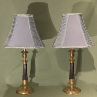 Pair Of Early 19th Century Bronze & Ormolu Candlestick Lamps
