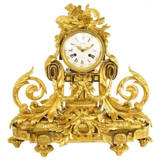 Large Louis XVI Style Ormolu Mantle Clock, signed
