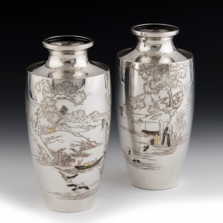 A Pair of Taisho Period Silver Vases