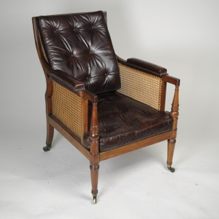 Regency Mahogany Bergère Armchair with leather cushions