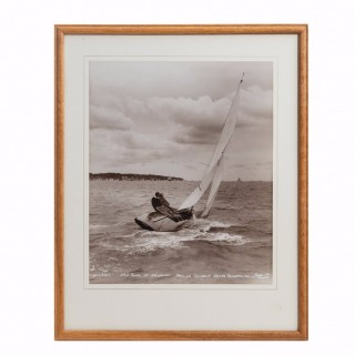 An original Beken photograph of HRH Duke of Edinburgh sailing cowslip