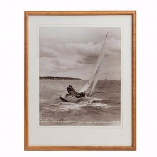 An original Beken photograph of HRH Duke of Edinburgh sailing cowslip