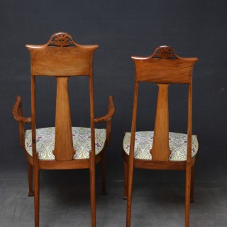Pair of Art Nouveau Chairs in Mahogany
