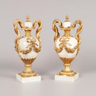 A Pair of Antique Marble and Ormolu Vases