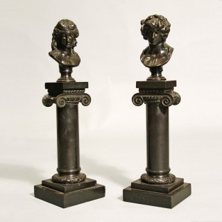 A Pair of Miniature Decorative Bronzes of Roman Busts on Columns