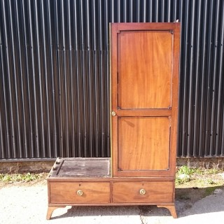 Early Nineteenth Century Mahogany Antique Campaign Wardrobe